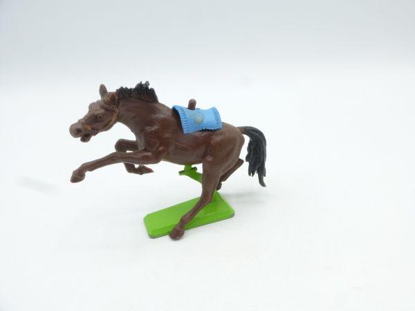 Britains Deetail Horse rearing, dark brown (blue blanket)
