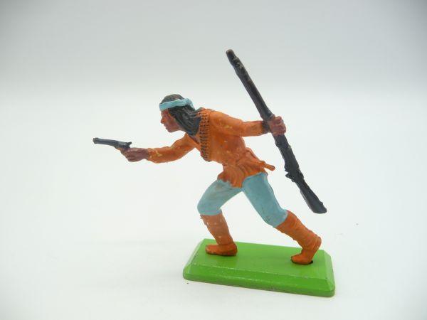 Britains Deetail Apache proceeding with pistol + rifle, orange/light blue