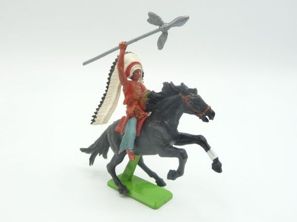 Britains Deetail Chief riding, throwing spear - rare colour!