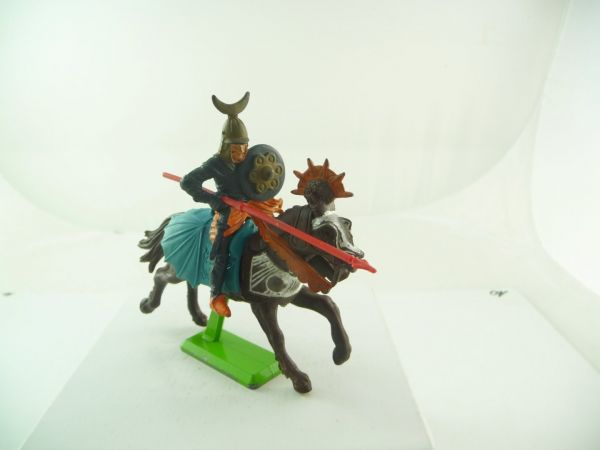 Britains Deetail Saracen riding with lance - great saddlecloth