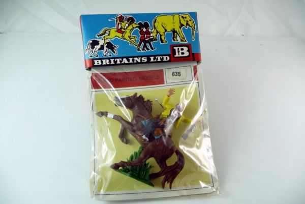 Britains Cowboy mounted, hit by arrow on original blister No. 635