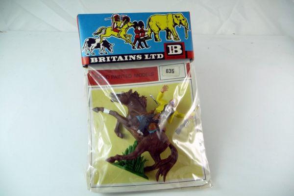 Britains Cowboy reitend, von Pfeil getroffen auf Originalkarte Nr. 635