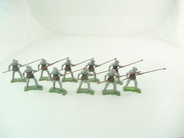 Britains Deetail 10 Ritter mit Speer vorgehend, silber/schwarz