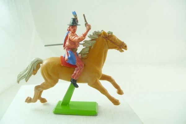 Britains Deetail Apache riding with pistol + spear - great painting