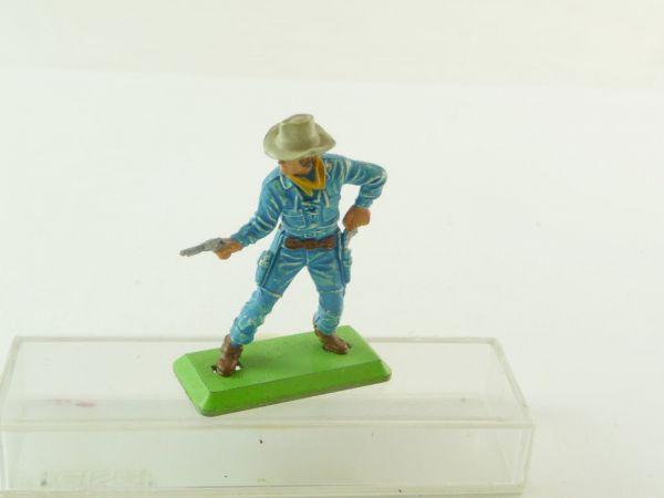 Britains Deetail Cowboy standing pulling pistol, medium-blue