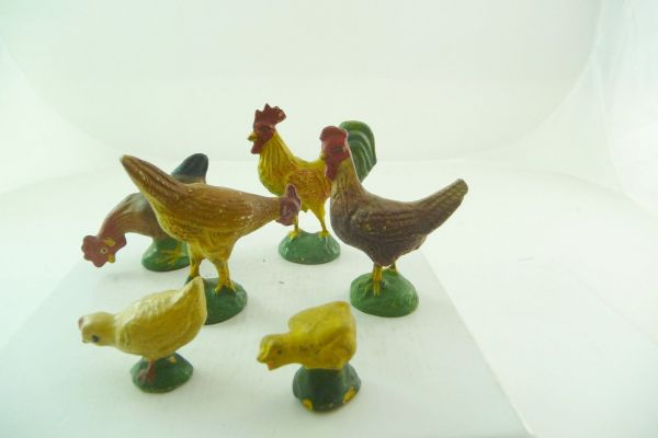6 hens, cocks, chicks, composition (height 2-5 cm)