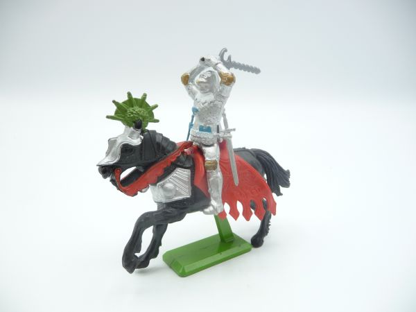Britains Deetail Knight 2nd version riding, sword ambidextrous over head