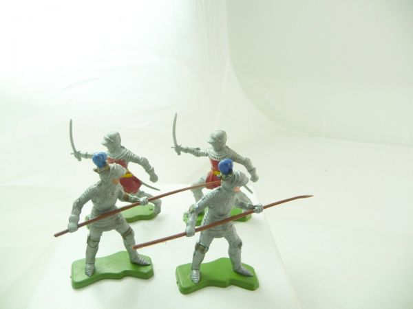 Britains Deetail 4 knights with sword / lance