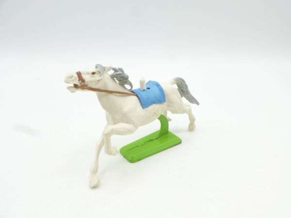 Britains Deetail Horse galloping, white (blue blanket)