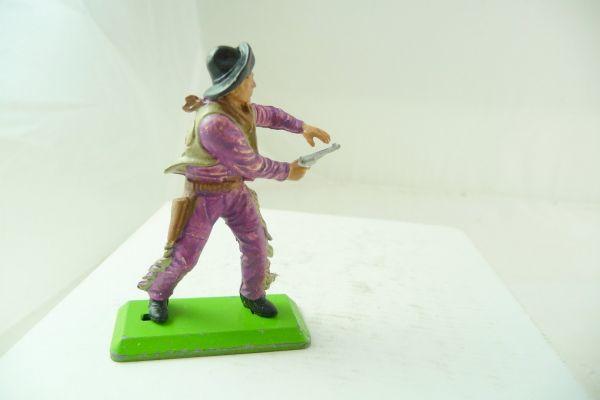 Britains Deetail Cowboy stehend, Pistole mit beiden Händen (lila/beige)
