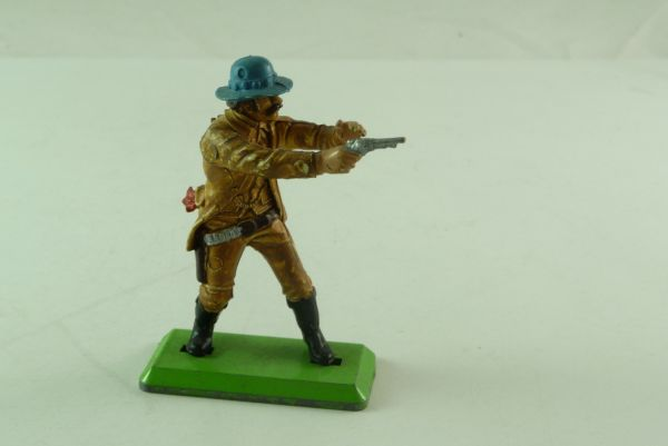 Britains Deetail Cowboy standing, firing with pistol, blue hat
