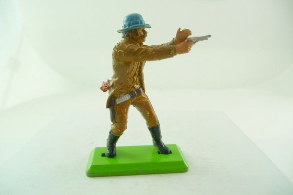 Britains Deetail Cowboy standing, firing with pistol, light-brown with blue hat