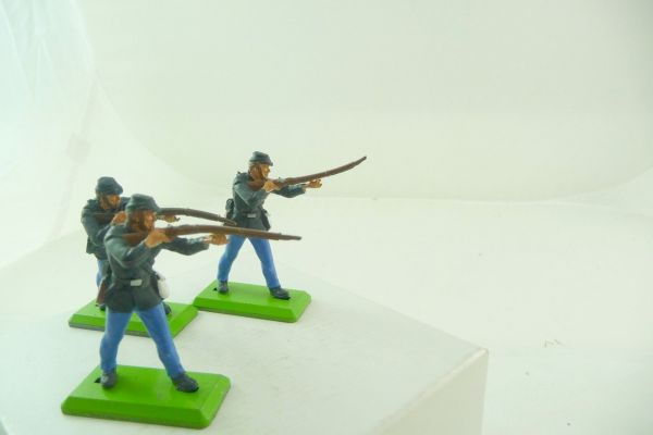 Britains Deetail 3 Union army soldiers standing firing (movable arm) - brand new