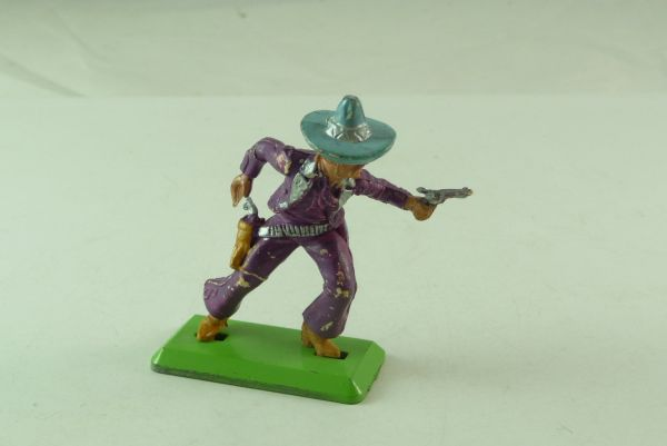 Britains Deetail Mexican going ahead with 2 pistols, purple, light-blue hat