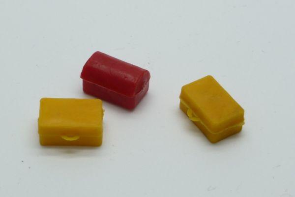 3 Taschen / Kisten (ähnlich Timpo Toys) in seltenen Farben