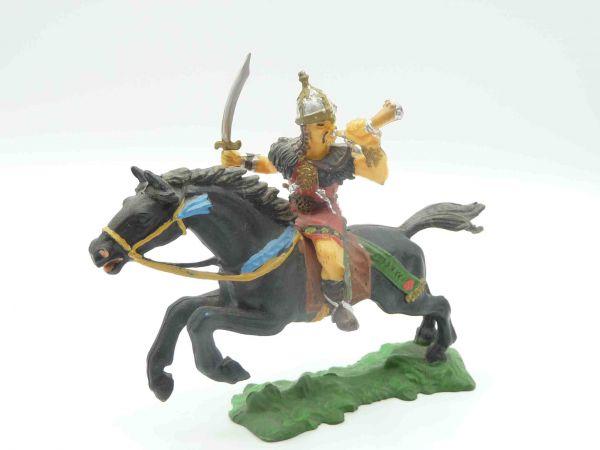 Elastolin 7 cm Hunne mit Horn + Schwert, Nr. 8754 - wunderschöne Bemalung