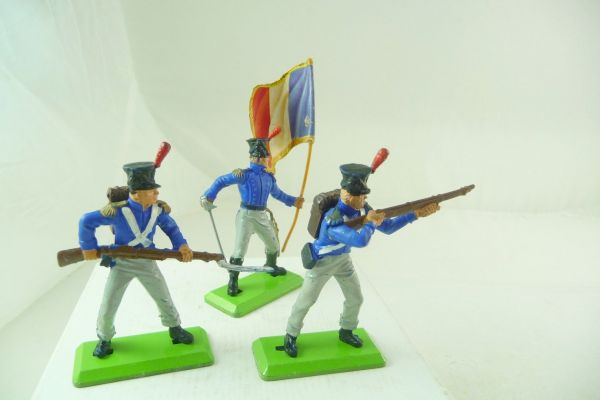 Britains Deetail Waterloo; Frenchmen, 3 soldiers in different positions