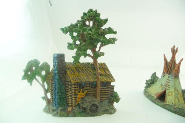 Log cabin with oak (Elastolin) - detailed copy made of resin