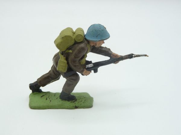 Blue helmet soldier with rifle in front (similar to Lone Star)