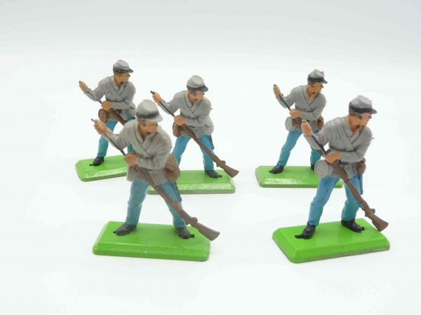 Britains Deetail 5 Confederate Army soldiers, rifle loading