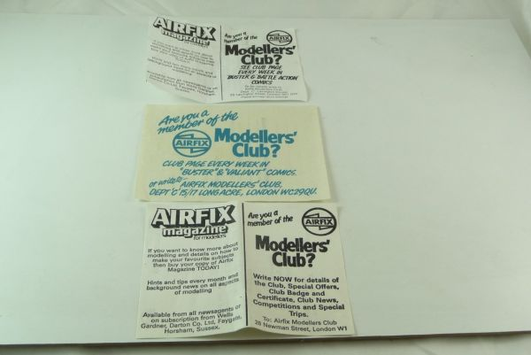 Airfix Advertising notes / flyers of Airfix boxes