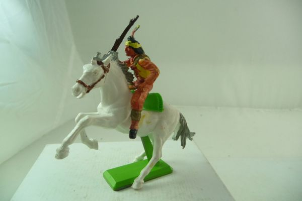 Britains Deetail Apache riding, holding up rifle, rearing horse