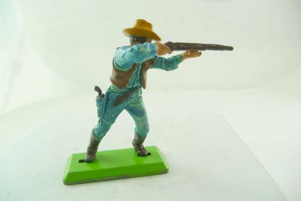 Britains Deetail Cowboy standing firing, light-blue