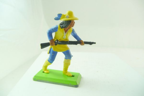 Britains Deetail Apache with rifle in front of body, yellow/blue - extremely rare