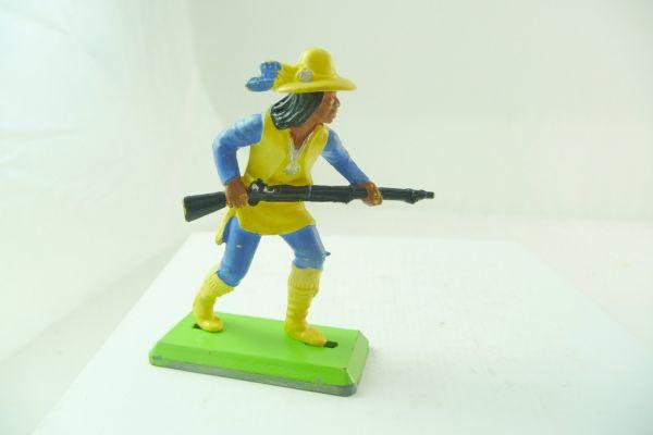 Britains Deetail Apache mit Gewehr vor dem Körper, gelb/blau - extrem selten