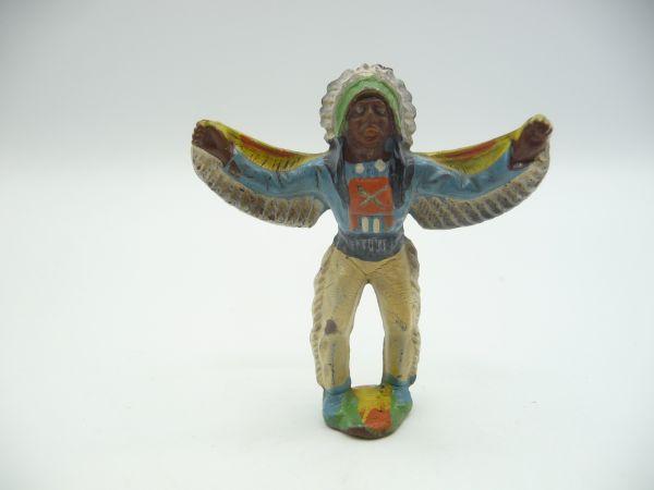 Indianer mit tollem Federschmuck, ausgebreitete Arme - frühe Figur