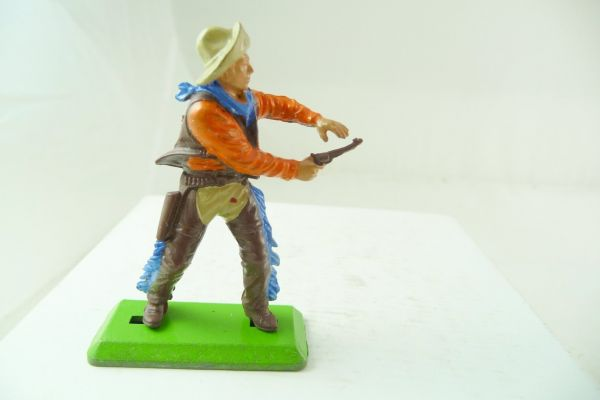 Britains Deetail Cowboy standing, pistol with both hands (brown/orange)