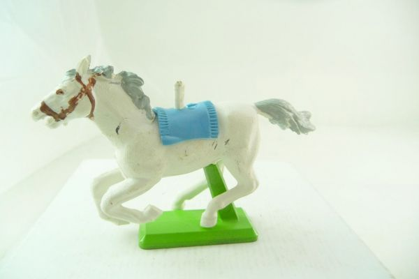 Britains Deetail horse white, galloping (light-blue blanket)