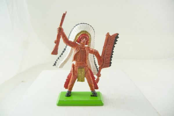 Britains Deetail Indian chief with spear, holding up rifle - colour variation