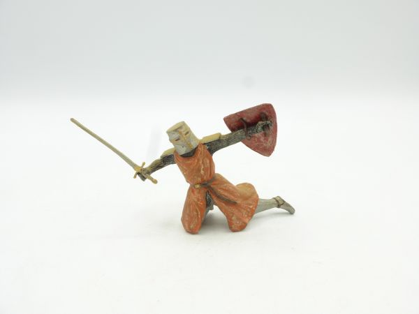 Knight falling with sword + shield, 7 cm size
