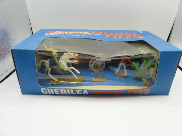 Cherilea Showcase Wild West with flat wagon, 5 figures + cactus