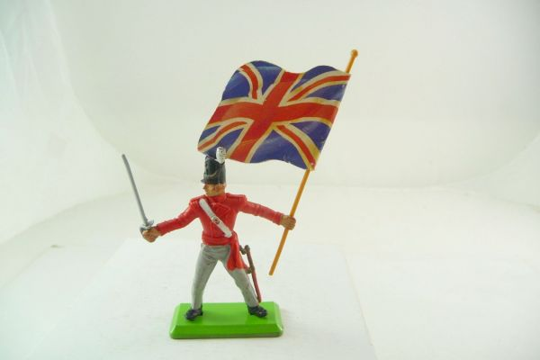 Britains Deetail Waterloo; Englishman standing with sabre + flag