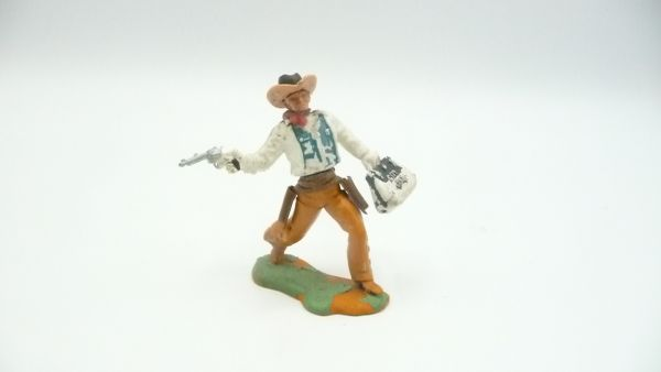 Britains Swoppets Cowboy running with pistol + money bag - French painting - great horse