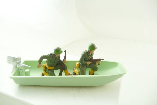 Britains Deetail Swamp boat with soldiers - figures + engine loose