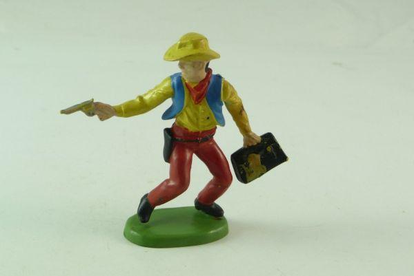Britains / Herald Cowboy stehend mit Geldtasche und Pistole