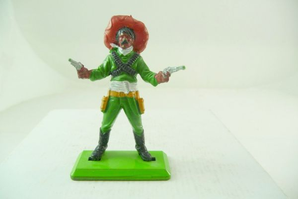 Britains Deetail Mexican standing, firing with 2 pistols, green with red sombrero