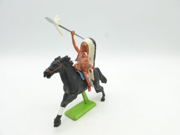Britains Deetail Indian chief riding, throwing spear - brand new