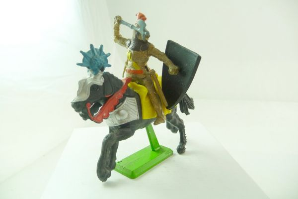 Britains Deetail Knight riding with battleaxe + shield, golden, two-part