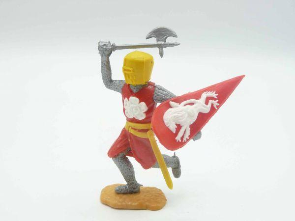 Timpo Toys Mittelalterritter laufend mit Streitaxt von oben, rot/gelb