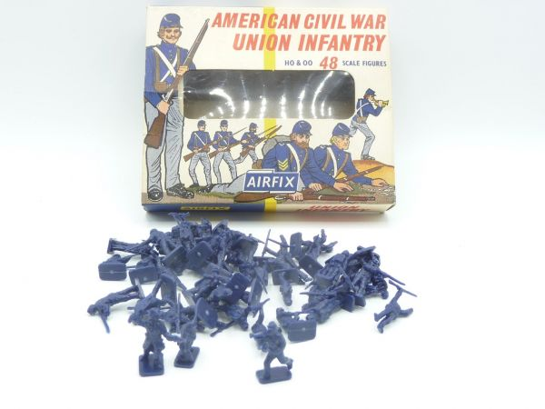 Airfix 1:72 Union Infantry - old box, box top, figures loose, complete