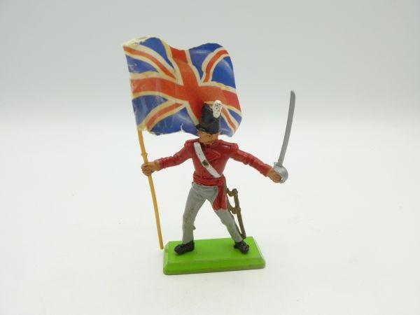 Britains Deetail Waterloo Britischer Soldat mit Säbel + Fahne - bespielt